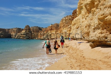 Vacation mode in Most Famous Secret in ALGARVE, PORTUGAL - stock photo