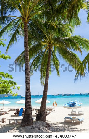 Vacation on tropical beach. Beautiful seashore view with coconut palm trees, white sand and turquoise sea water - stock photo