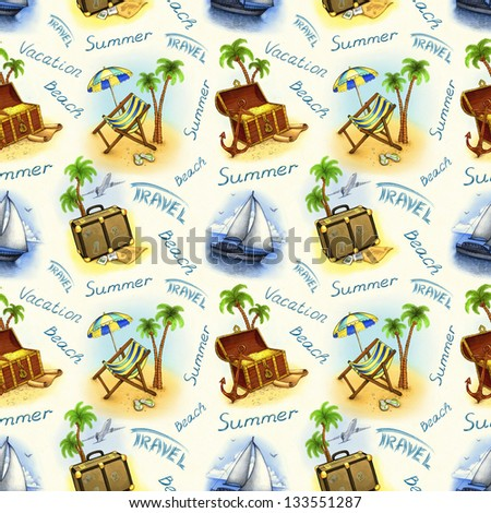 Vacation seamless pattern. Hand draw illustration - stock photo