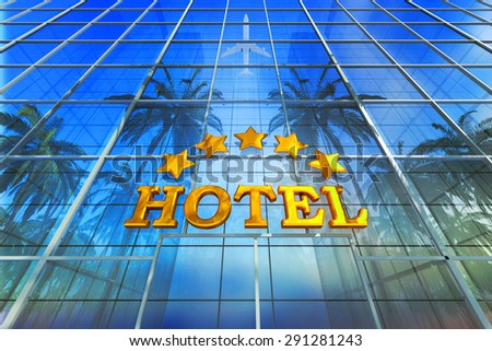 Vacation, travel, tropical resort and tourism concept, skyscraper building as a comfortable five star deluxe hotel - stock photo