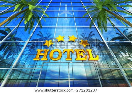 Vacation, travel, tropical resort and tourism concept, skyscraper building as a comfortable four star deluxe hotel - stock photo