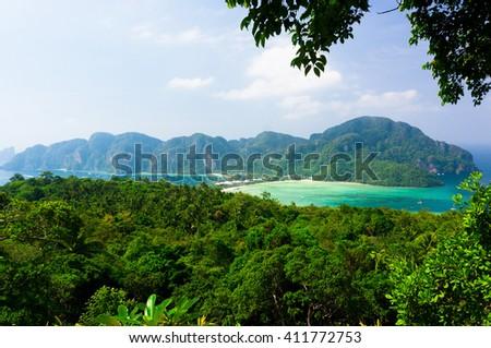 Vacation Wallpaper Palm Island  - stock photo