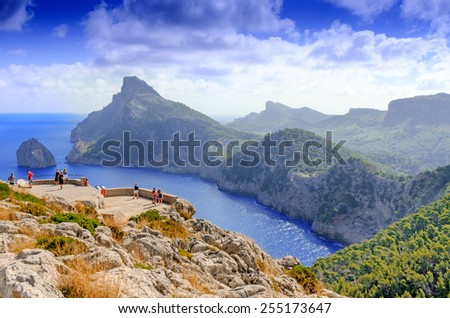 Vacations at Spain: Mallorca landscape and view to Cape Formentor - stock photo