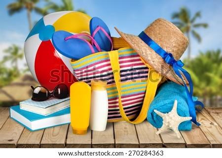 Vacations. Beach bag - stock photo