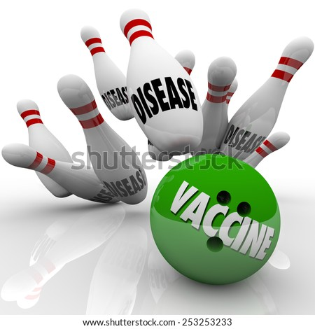 Vaccinate word on a bowling ball striking balls marked disease to illustrate stopping the spread of infectious disease through immunization - stock photo