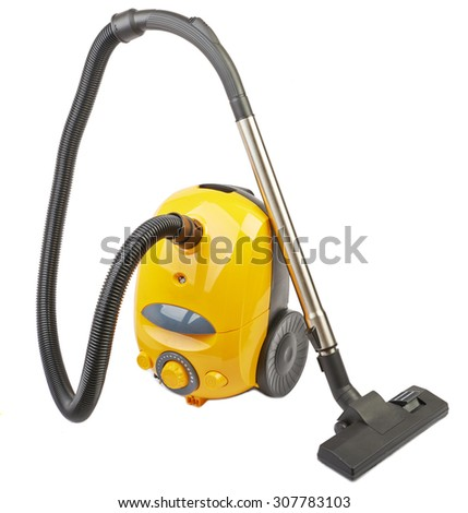 Vacuum cleaner body yellow isolated on white background - stock photo