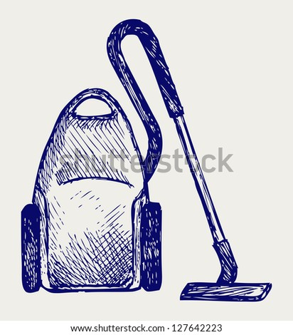 Vacuum cleaner. Doodle style. Raster version - stock photo
