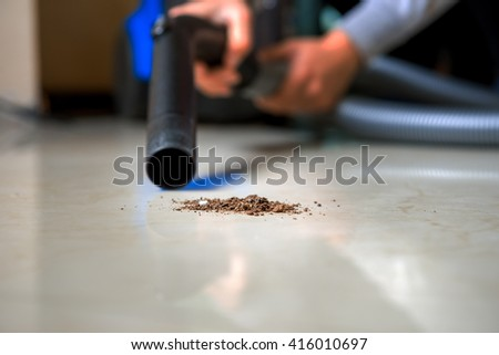 vacuum cleaner for homework - stock photo