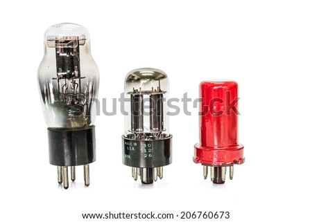 Vacuum electronic preamplifier tubes. Isolated image on white background - stock photo