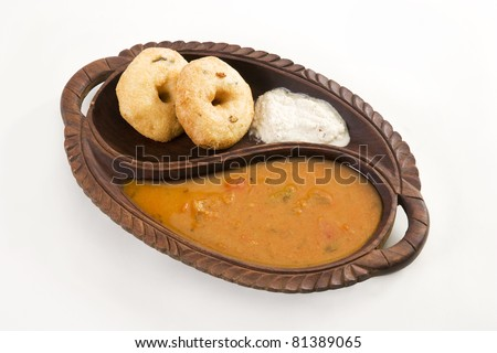 Vada Sambar with Coconut Chutney, Indian Food - stock photo