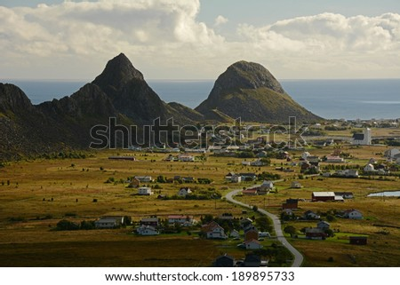 Vaeroy island, Lofoten island,Norway - stock photo