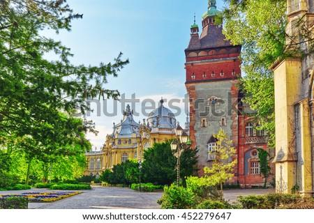 Vajdahunyad Castle (Hungarian-Vajdahunyad vara) is a castle in the City Park of Budapest, Hungary. - stock photo