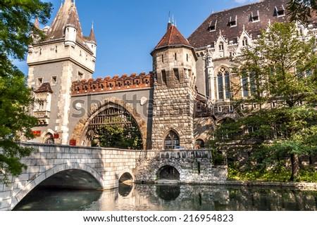 Vajdahunyad Castle in Budapest, Hungary. - stock photo