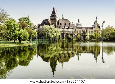 Vajdahunyad castle view from lakeside. Budapest, Hungary - stock photo