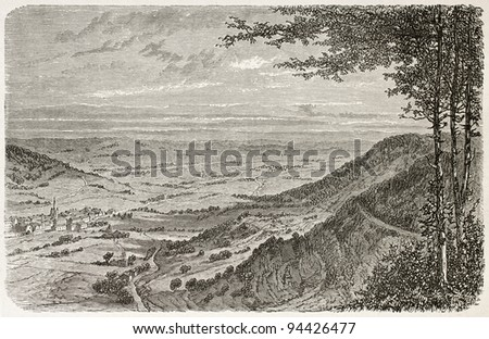Val d'Ajol old view from the Feuillee Dorothee, France. Created by Clerget, published on Le Tour du Monde, Paris, 1867 - stock photo