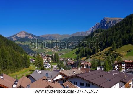 Val Gardena Wolkenstein in Alps, Dolomites - stock photo