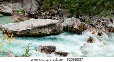 Valbona river in Albania - stock photo