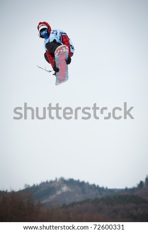 VALCA, SLOVAKIA - FEBRUARY 13: jump of  Filip Hrkel at Nokia Freestyle Tour 2011 February 13, 2011 in Valca, Slovakia - stock photo