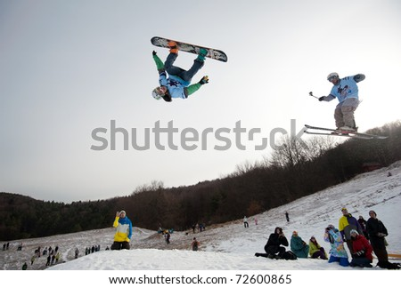VALCA, SLOVAKIA - FEBRUARY 13: jump of  Matej Dolnik at Nokia Freestyle Tour 2011 February 13, 2011 in Valca, Slovakia - stock photo