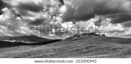 Vald d'Elsa, Tuscany, panorama. BW image - stock photo
