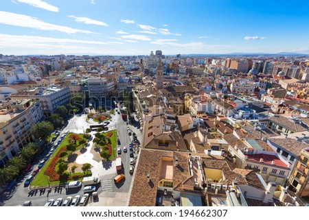 Valencia aerial skyline with Plaza de la Reina at Spain - stock photo