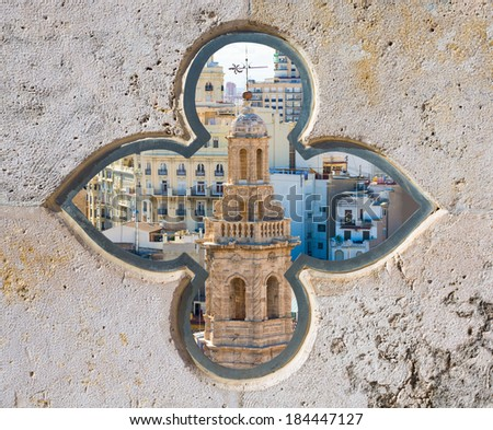 Valencia aerial skyline with Santa Catalina belfry tower photomount at Spain - stock photo