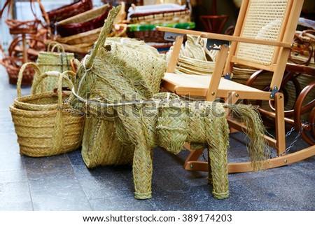 Valencia esparto alfa handcraft baskets and horse in Spain - stock photo