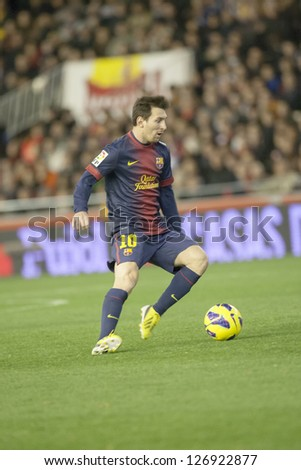 VALENCIA - FEBRUARY 3: Leo Messi during Spanish League match between Valencia CF and FC Barcelona, on February 3, 2013, in Mestalla Stadium, Valencia, Spain - stock photo