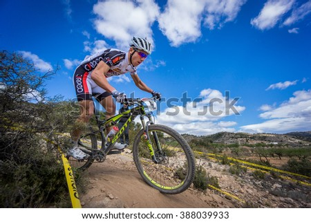 VALENCIA - MARCH 6: Hugo Drechou rider participates in international Chelva MTB-XCO competition in Chelva on march 6, 2016 in Valencia, Spain - stock photo