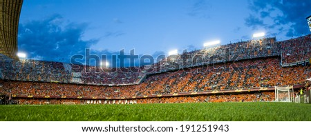 VALENCIA - MAY, 1: View of Mestalla Stadium during UEFA Europe League semifinals match between Valencia CF and Sevilla FC on May 1, 2014 in Valencia, Spain - stock photo