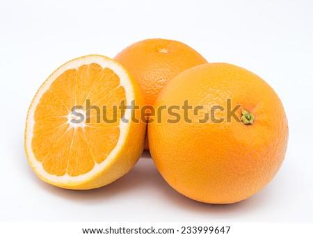 Valencia oranges on white background - stock photo