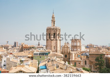 Valencia seen from a tower - stock photo