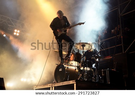 VALENCIA, SPAIN - APR 4: The Royal Concept (band) performs at MBC Fest on April 4, 2015 in Valencia, Spain. - stock photo