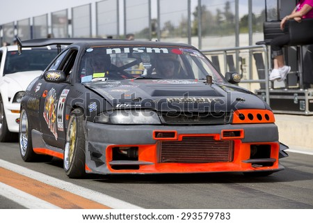 VALENCIA, SPAIN - APRIL 25: A black Nissan Skyline take part in American Fest weekend organizated in circuit Ricardo Tormo, on April 25, 2015, in Cheste, Valencia, Spain. - stock photo