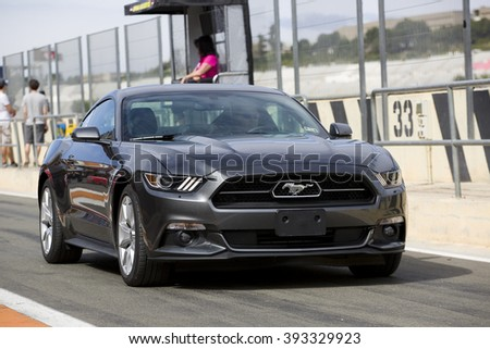 VALENCIA, SPAIN - APRIL 25: A grey 2015 Ford Mustang take part in American Fest weekend organized in circuit Ricardo Tormo, on April 25, 2015, in Cheste, Valencia, Spain. - stock photo