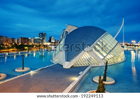 VALENCIA, SPAIN - APRIL 20, 2014: Evening view over the L'Hemisferic, a IMAX 3D-cinema, planetarium and laserium in the City of Arts and Science, Valencia Spain - stock photo