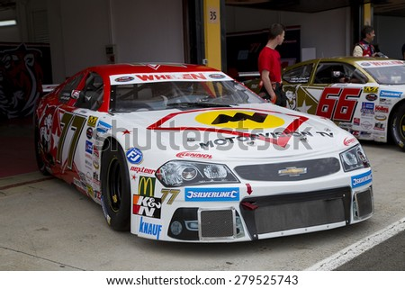 VALENCIA, SPAIN - APRIL 25: Luke Wright compete at Race 1 Elite 1 of Whelen Nascar Euro Series in Ricardo Tormo circuit, on April 25, 2015, in Cheste, Valencia, Spain. The winner was Eddie Cheever. - stock photo