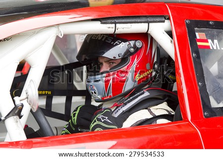 VALENCIA, SPAIN - APRIL 25: Wilfried Boucenna at Race 1 Elite 1 of Nascar Whelen Euro Series in Ricardo Tormo circuit, on April 25, 2015, in Cheste, Valencia, Spain. The winner was Eddie Cheever. - stock photo
