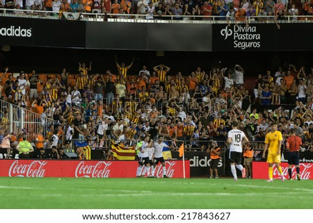 VALENCIA, SPAIN - AUGUST 29: Mestalla stadium at the Spanish League game between Valencia CF and Malaga CF at Estadi de Mestalla (Mestalla Stadium) on August 29, 2014 in Valencia, Spain - stock photo