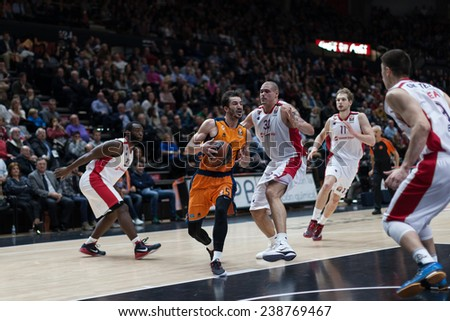 VALENCIA, SPAIN - DECEMBER 5: Ribas with ball during Euroleague match between Valencia Basket Club and Crvena Zvezda Telekom Belgrade at Fonteta Stadium on Dicember 5, 2014 in Valencia, Spain - stock photo