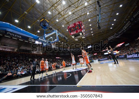 VALENCIA, SPAIN - DECEMBER 12th: players during Spanish League between Valencia Basket Club and Montakit Fuenlabrada at Fonteta Stadium on December 12, 2015 in Valencia, Spain - stock photo
