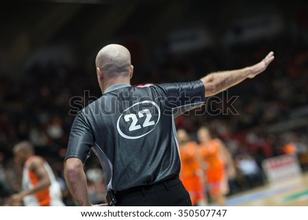 VALENCIA, SPAIN - DECEMBER 12th: Referee during Spanish League between Valencia Basket Club and Montakit Fuenlabrada at Fonteta Stadium on December 12, 2015 in Valencia, Spain - stock photo