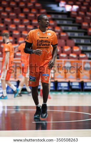 VALENCIA, SPAIN - DECEMBER 12th: Sato during Spanish League between Valencia Basket Club and Montakit Fuenlabrada at Fonteta Stadium on December 12, 2015 in Valencia, Spain - stock photo