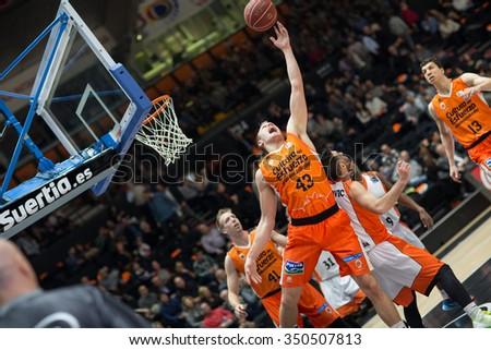VALENCIA, SPAIN - DECEMBER 12th: Sikma (43) during Spanish League between Valencia Basket Club and Montakit Fuenlabrada at Fonteta Stadium on December 12, 2015 in Valencia, Spain - stock photo