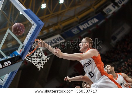 VALENCIA, SPAIN - DECEMBER 12th: Smits during Spanish League between Valencia Basket Club and Montakit Fuenlabrada at Fonteta Stadium on December 12, 2015 in Valencia, Spain - stock photo