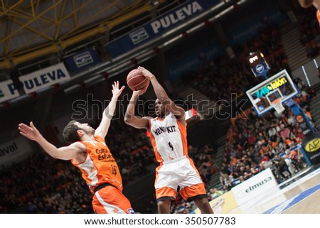 VALENCIA, SPAIN - DECEMBER 12th: Tabu with ball during Spanish League between Valencia Basket Club and Montakit Fuenlabrada at Fonteta Stadium on December 12, 2015 in Valencia, Spain - stock photo