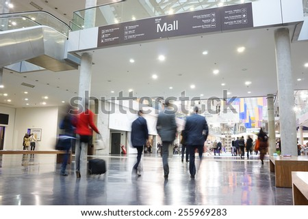 VALENCIA, SPAIN - FEBRUARY 11, 2015: Business people at the Feria Valencia Convention Center for the CEVISAMA 2015 Habitat Trade Fair. - stock photo