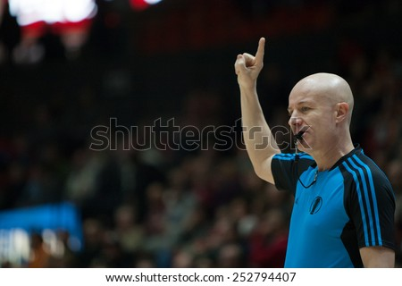 VALENCIA, SPAIN - FEBRUARY 11: Referee during Eurocup match between Valencia Basket Club and Lokomotiv Kuban Krasnodar at Fonteta Stadium on February 11, 2014 in Valencia, Spain - stock photo