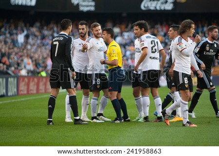 VALENCIA, SPAIN - JANUARY 4: all players during Spanish League match between Valencia CF and Real Madrid at Mestalla Stadium on January 4, 2015 in Valencia, Spain - stock photo