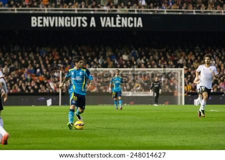VALENCIA, SPAIN - JANUARY 25: Banega during Spanish League match between Valencia CF and Sevilla FC at Mestalla Stadium on January 25, 2015 in Valencia, Spain - stock photo